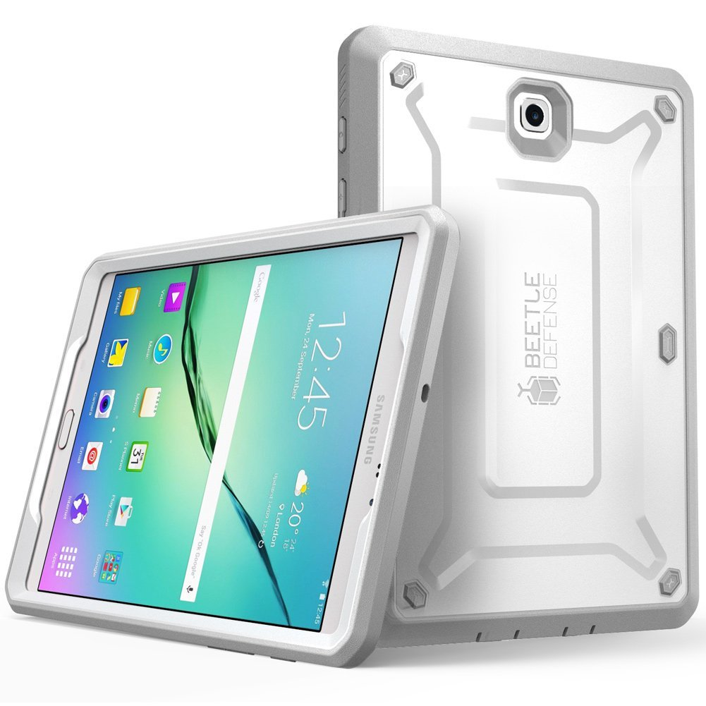 Galaxy Tab S2 Case,Supcase, Unicorn Beetle Pro, Built in Screen Protector, Samsung Galaxy Tab S2 9.7- White/Gray