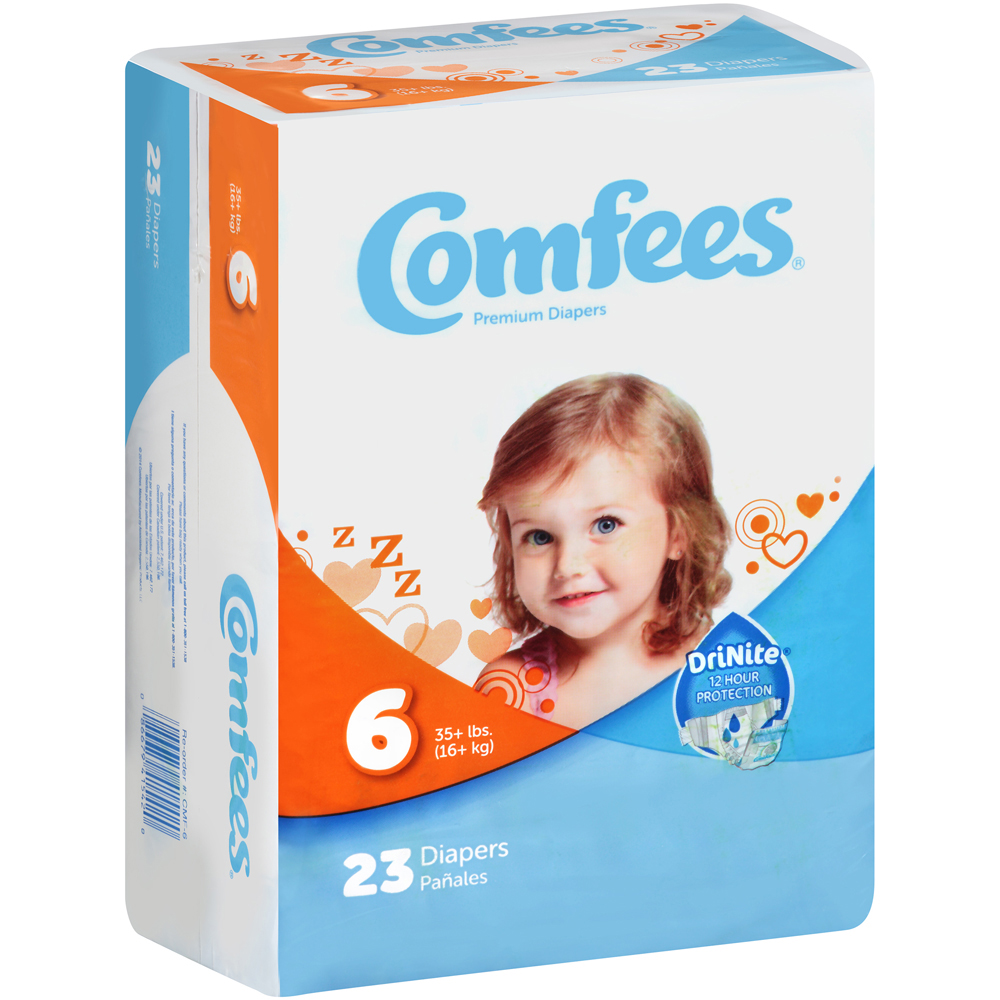 Comfees CMF-6 Disposable Baby Diapers-Size 6-92/Case