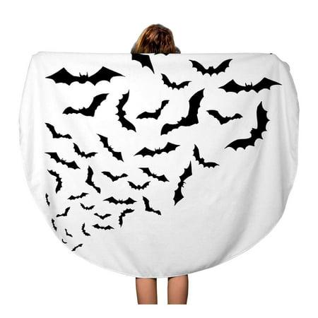 KDAGR 60 inch Round Beach Towel Blanket Dracula Swarm of Bats Silhouette Halloween Shadow Vampire Shape Travel Circle Circular Towels Mat Tapestry Beach Throw](Silhouette Halloween Shapes)