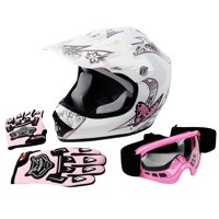 TCMT DOT Helmet for Kids & Youth Black Skull with Goggles & Gloves for Atv Mx Motocross Offroad Street Dirt Bike L Size