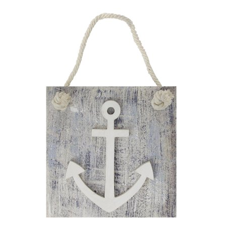 "7.25"" Blue and White Cape Cod Inspired Anchor Wall Hanging Plaque"