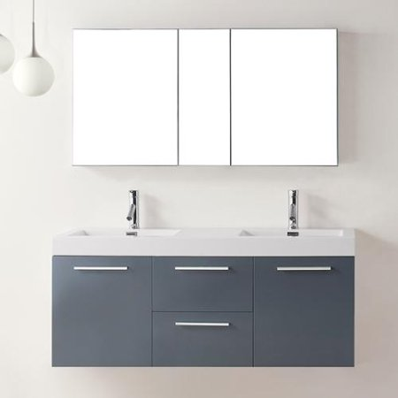 virtu usa midori 54 inch grey double sink bathroom vanity set. Black Bedroom Furniture Sets. Home Design Ideas
