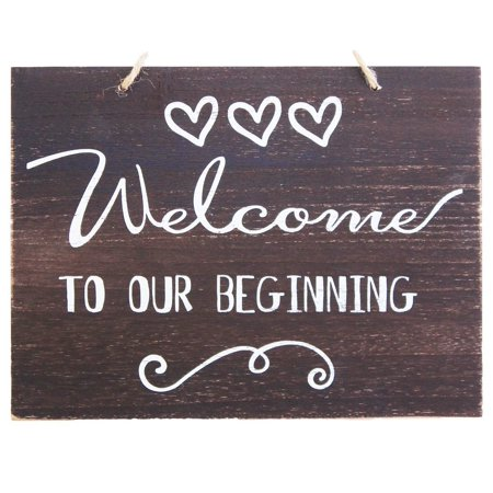 JennyGems Welcome To Our Beginning Sign - Wedding Ceremony and Reception Decorations - Ring Bearer Signs - Flower Girl Signs - House Warming Party Sign - Rustic - Ring Bearer Gift