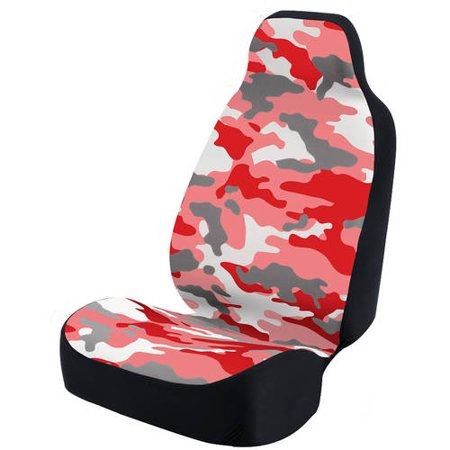 Coverking Universal Seat Cover Fashion Print, Ultra Suede, Camo Red and White Background with Black Interlock Backing