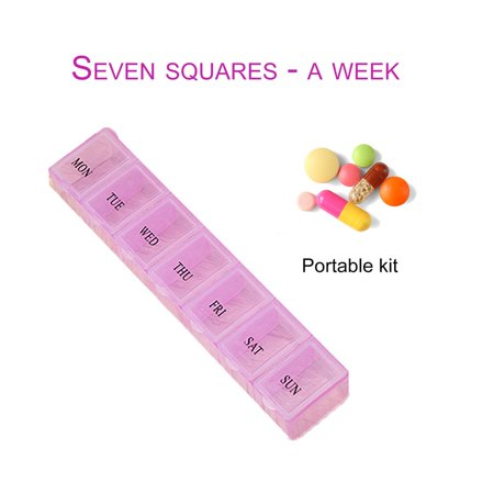 7 Lattice Weekly Medicine Pill Box Outdoor Travel Medicine Tablet Container - image 7 de 10