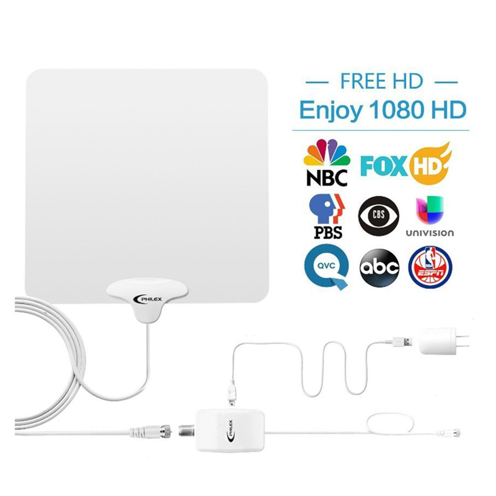 TV Antenna - 50 Mile Range Amplified Indoor HD TV Antenna with Detachable Amplifier Signal Booster 13FT Coaxial Cable - Ultra Thin/Black