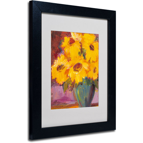 "Trademark Fine Art ""Sunflower #5"" Matted Framed Art by Sheila Golden, Black Frame"