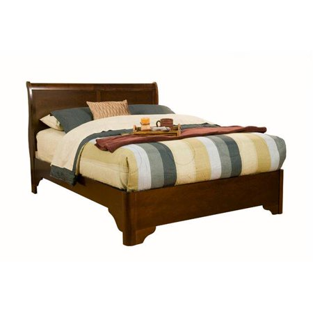 - Full Size Sleigh Bed In Rubberwood Solids With Low Footboard, Brown