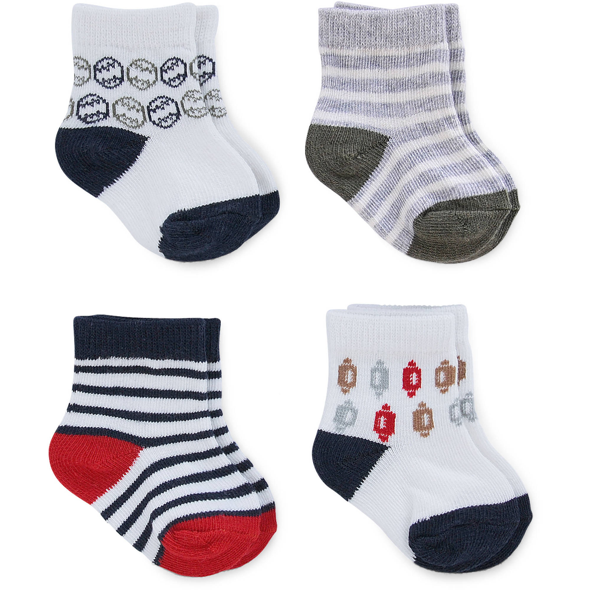 Child of Mine by Carter's Newborn Baby Boy Sports Computer Socks, 4 Pack