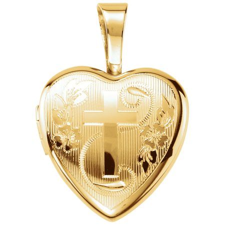 14K Yellow Gold-Plated Sterling Silver Cross Heart Locket (1.4 gram) (Grams Lockets)