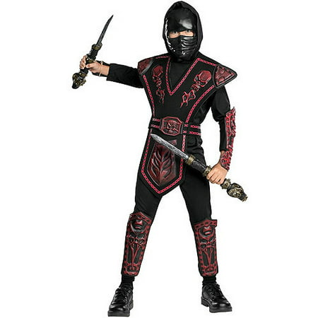 Red Skull Warrior Ninja Child Halloween Costume - Half Skull Costume