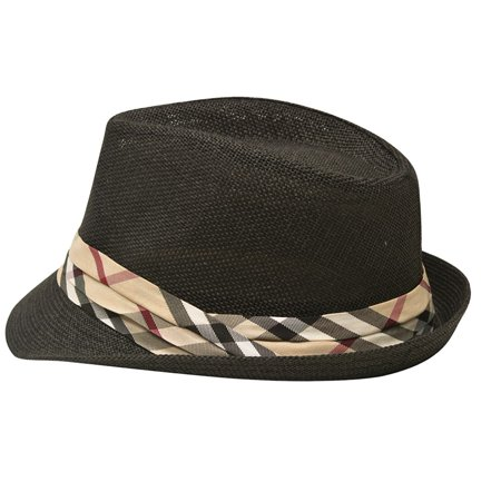 Sophias Style Unisex Junior Adult Black Plaid Grosgrain Ribbon Fedora Summer Hat](Fedora Black)