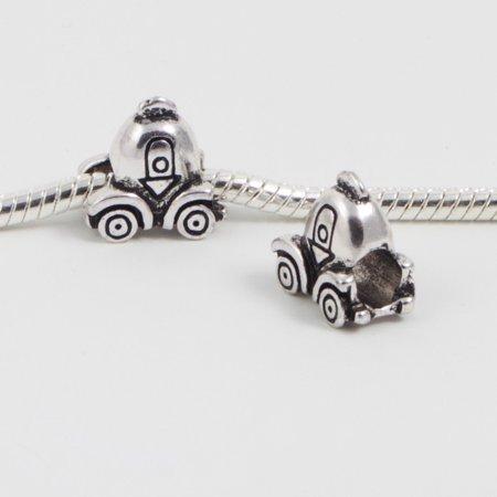 3 Beads - Princess Carriage Cinderella Coach Buggy Silver European Bead Charm E0094 (Homemade Cinderella Carriage)