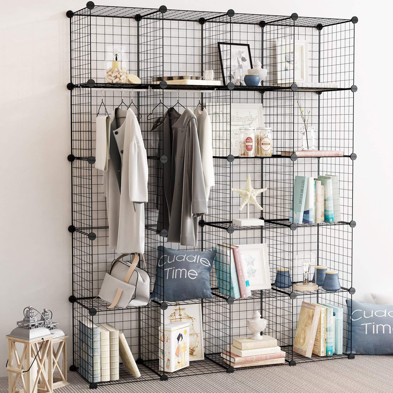 LESHP 20 Cubes Wire Grid Storage Cabinet Diy Metal Bookcase Shelves Modular Cubes Organizer,Closet For Toys,Books,Clothes,Black