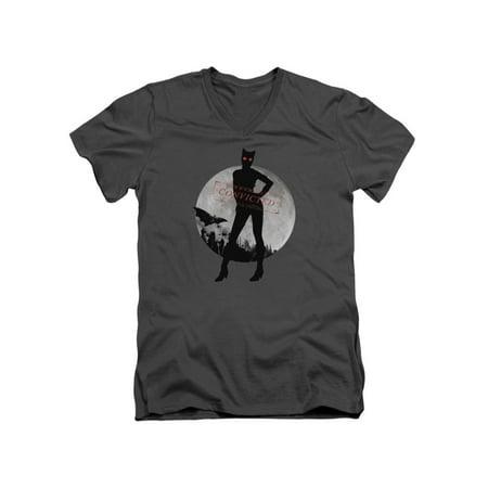 Batman Arkham City DC Comics Catwoman Convicted Asylum Adult V-Neck T-Shirt - Batman And Catwoman Couple Shirts