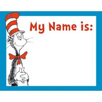 Dr. Seuss Cat in the Hat Adhesive Name Tags, Package of 40 (659750), Package of 40 decorated name tags