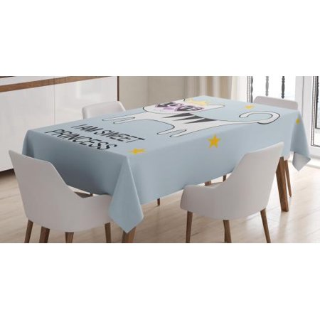 I am a Princess Tablecloth, Sweet Princess Cat with Heart Shaped Glasses Love Royal Animal Character, Rectangular Table Cover for Dining Room Kitchen, 52 X 70 Inches, Multicolor, by Ambesonne - Heart Shaped Glasses