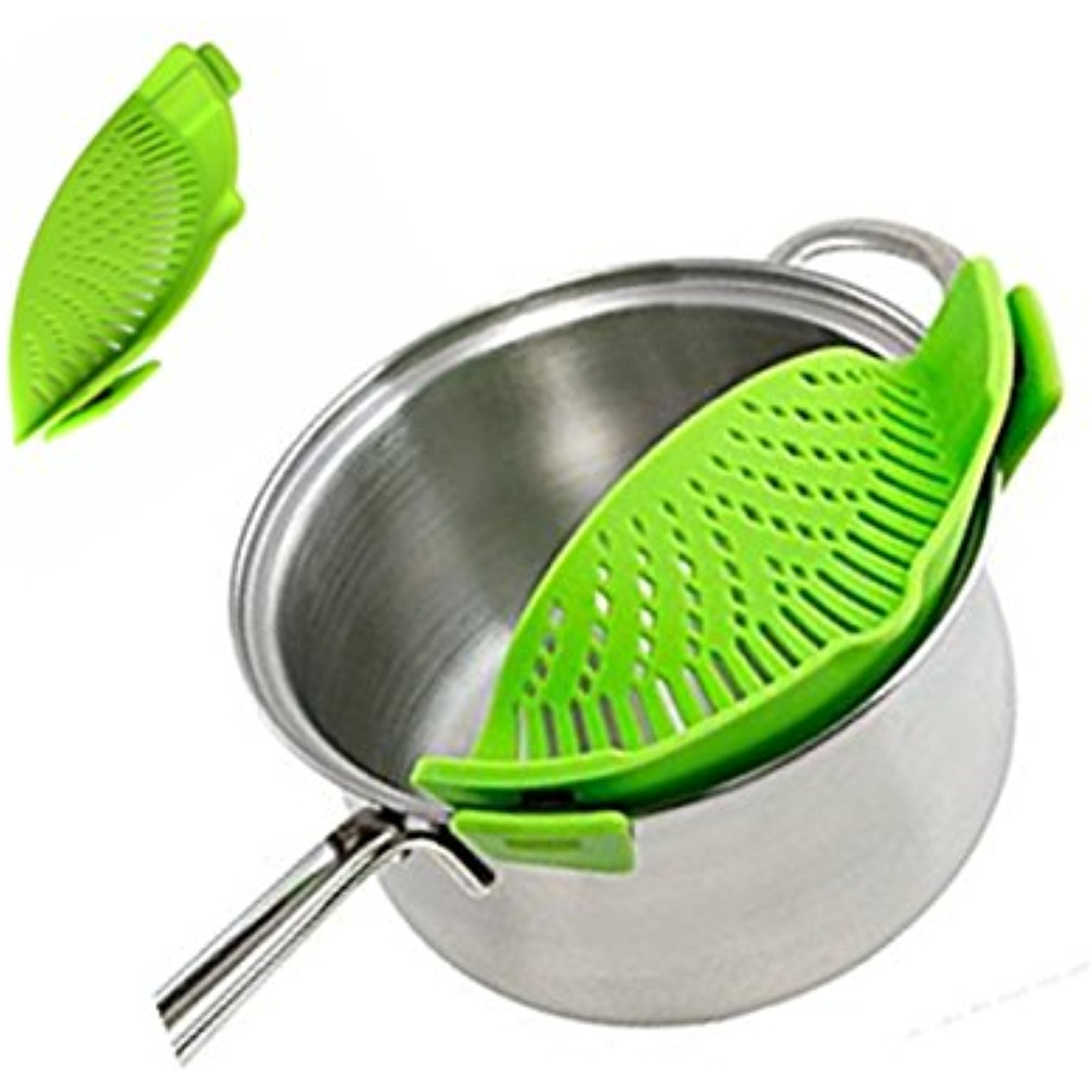 iNeibo Silicone Strainer-Clip on Pan Strainer for Draining Pasta, Grease, Vegetable, Fruit, Rice
