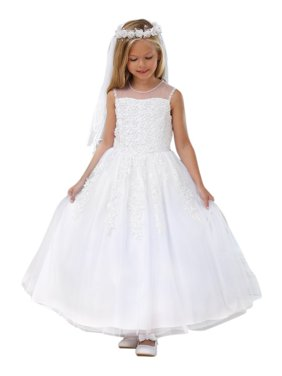 Angels Garment Little Girls White Lace Applique Flower Girl Dress 3-6