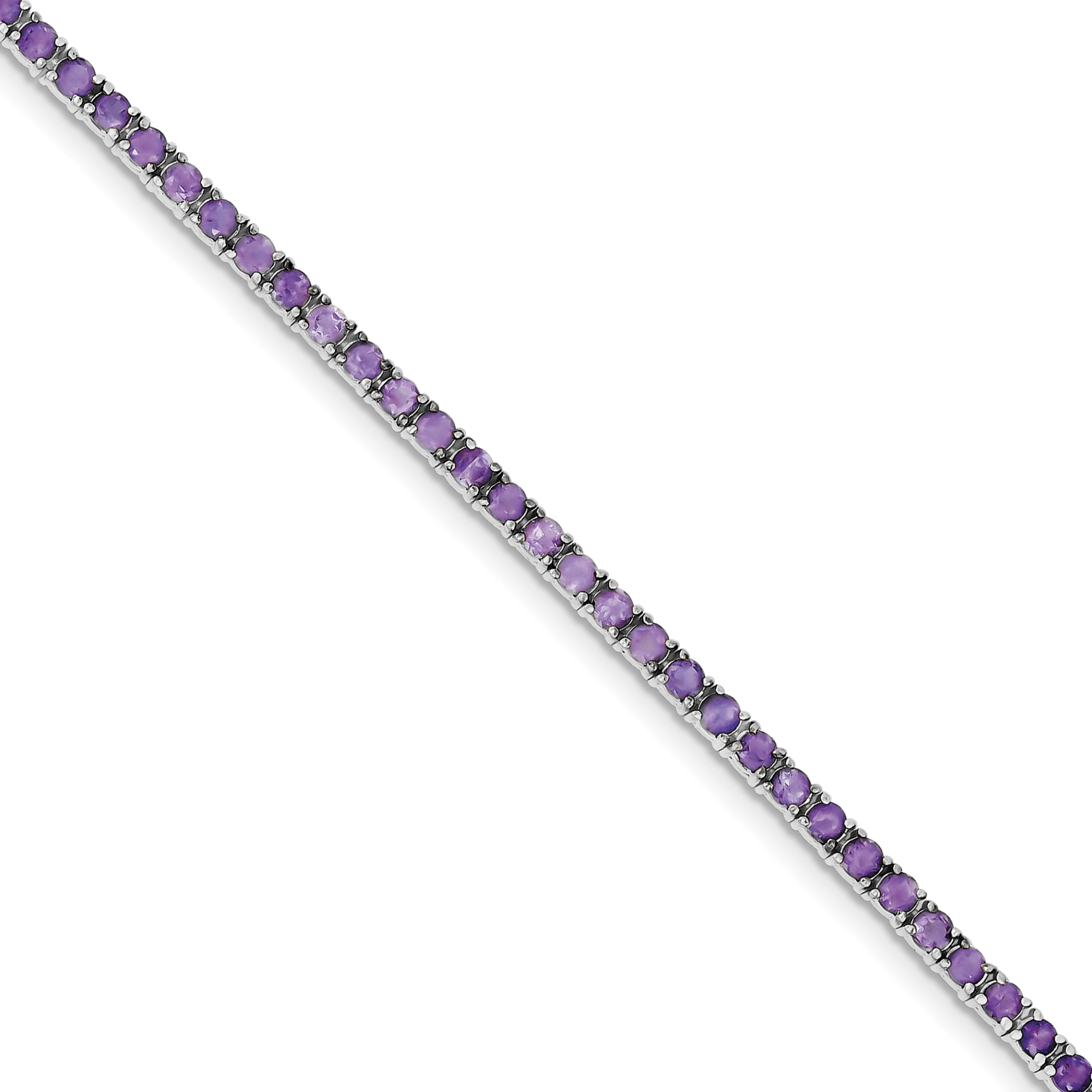 925 Sterling Silver Rhodium-plated Amethyst Bracelet by