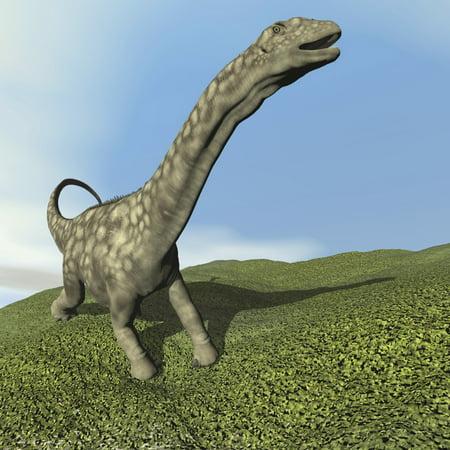 Argentinosaurus Dinosaur Walking On The Grass Poster Print