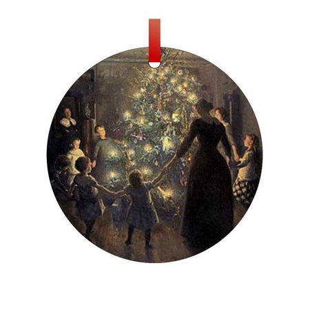 Artist Viggo Johansen's Merry Christmas Painting Flat Round - Shaped Christmas Holiday Hanging Tree Ornament Disc Made in the U.S.A. - Painting Christmas Ornaments