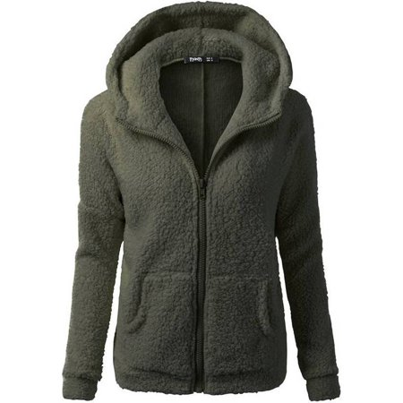JustVH Women's Full Zip Up Sherpa Fleece Hoodie Jacket Coat Winter Warm Outwear