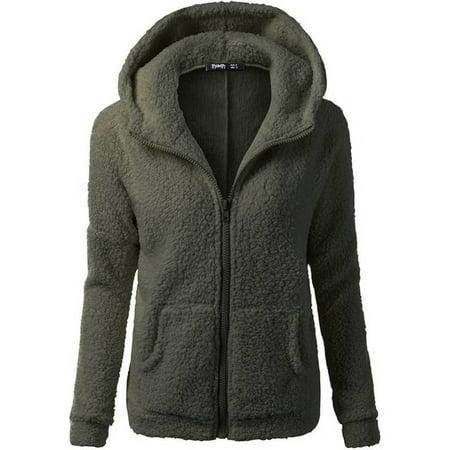 JustVH Women's Full Zip Up Sherpa Fleece Hoodie Jacket Coat Winter Warm