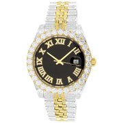 Men's Two Tone Gold 40mm Presidential Iced Out Jubilee Band Watch