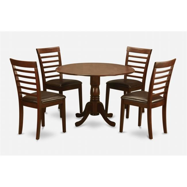East West Furniture DLML5-MAH-LC 5PC Kitchen Round Table with 2 Drop Leaves and 4 Ladder-back Chairs with Faux Leather Seat