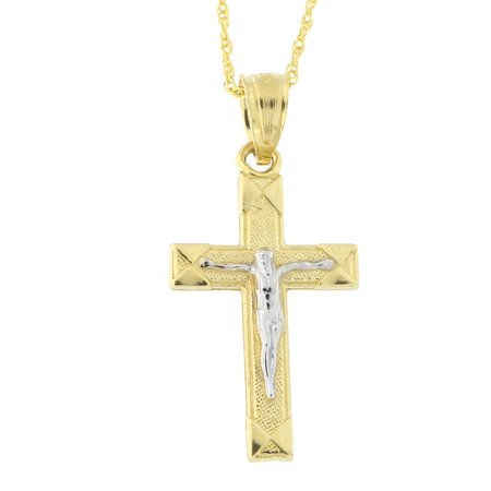Beauniq 10k yellow and white gold two tone crucifix cross pendant beauniq 10k yellow and white gold two tone crucifix cross pendant necklace walmart aloadofball Choice Image