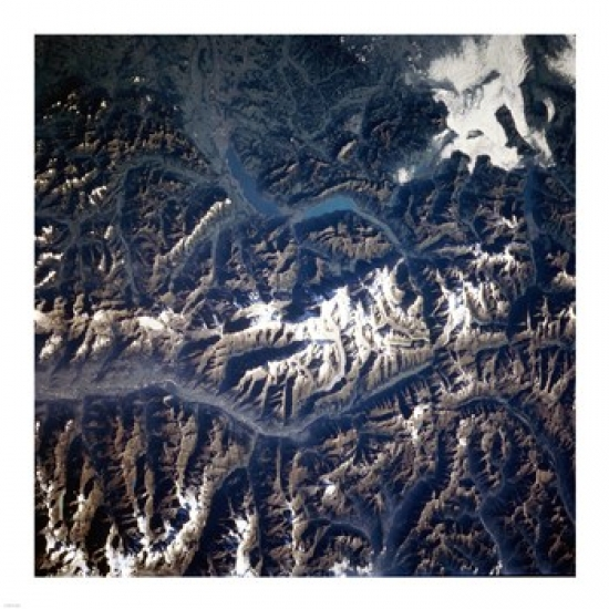 Swiss alps from space taken by Atlantis Poster Print (12 x 12)