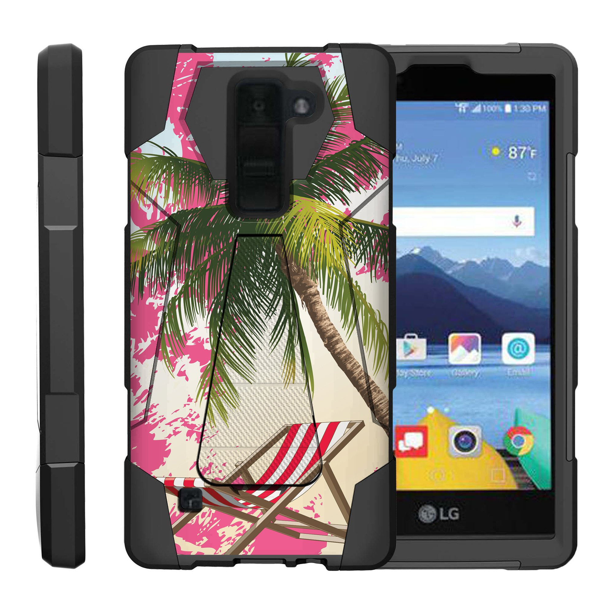 TurtleArmor ® | For LG K8V VS500 | LG K8 V [Dynamic Shell] Dual Layer Hybrid Silicone Hard Shell Kickstand Case - Paradise Island