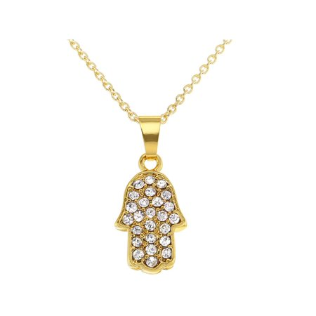 18k Gold Plated Hamsa Hand Small Pendant Necklace Kabbalah Clear Crystal 19""