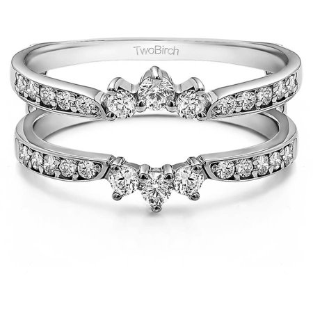 Personalized TwoBirch Women's Crown Inspired Half Halo Wedding Ring Guard Enhancer