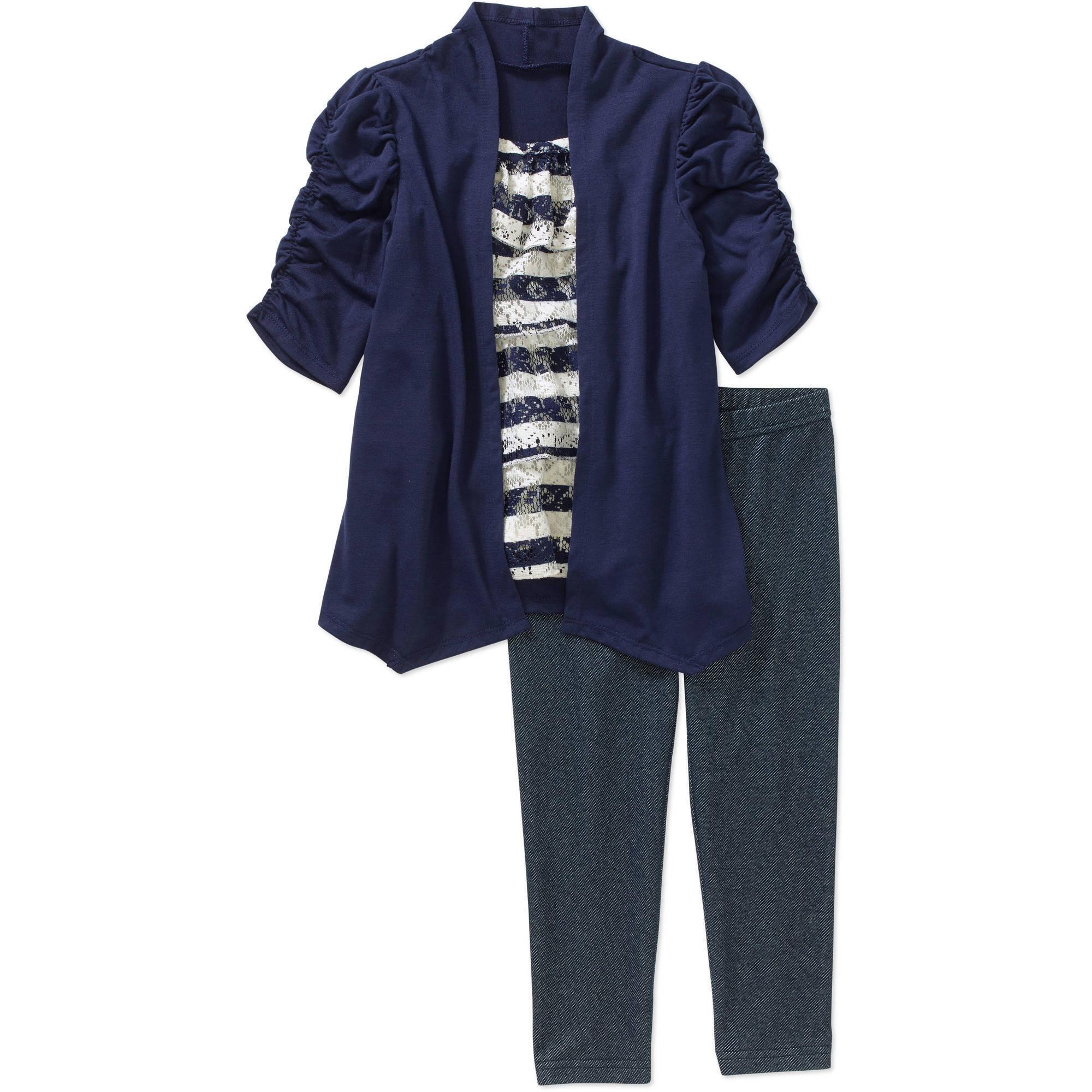 Healthtex Toddler Girls' Short Sleeve Hacci Layered Tunic and Knit Denim Leggings
