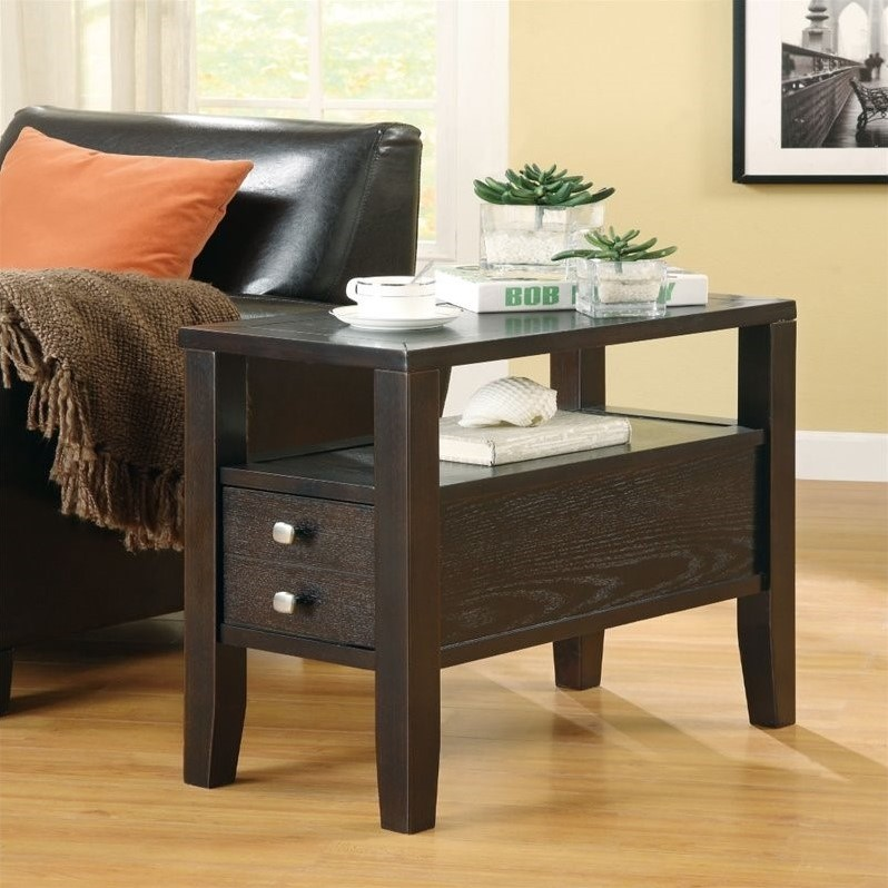 Coaster Chairside Table, Cappuccino Finish