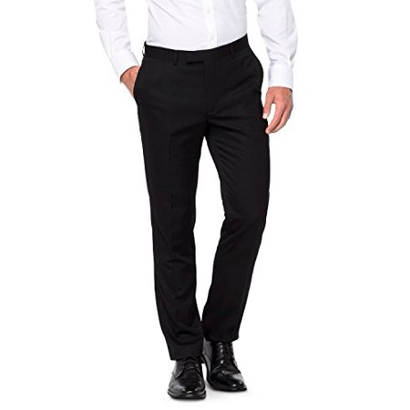 Edge By Wd-ny Mens Basic Slim-fit Pants Black 34x32 (Black Men Pants)