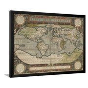 Antique World Map X Framed Print Wall Art By Vision Studio - 36 x 48 world map