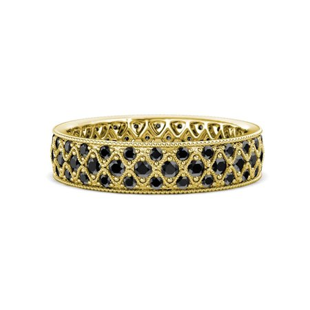 Black Diamond Three Row Eternity Band with Milgrain Work 1.13 to 1.28 Carat tw in 14K Yellow Gold.size 7.0