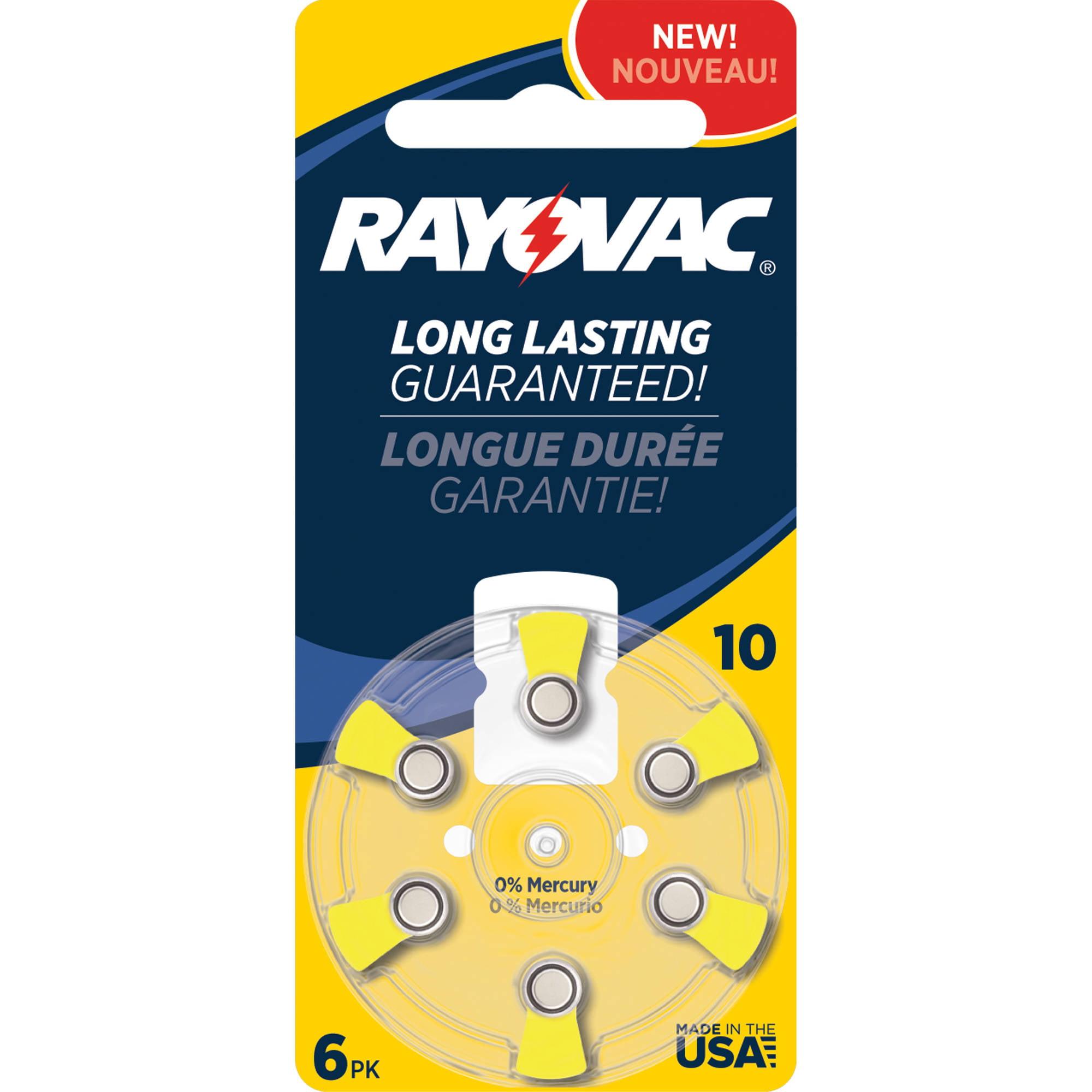Rayovac Size 10 Hearing Aid Battery Mercury Free Batteries, 6pk