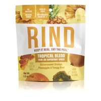 RIND Snacks Tropical Blend Sun-Dried Skin-On Superfruit Snack, Bittersweet Orange, Pineapple and Tangy Kiwi, High Fiber, No Sulfites, Non-GMO, Gluten-Free, 1.5 oz Single Serve, Pack of 6