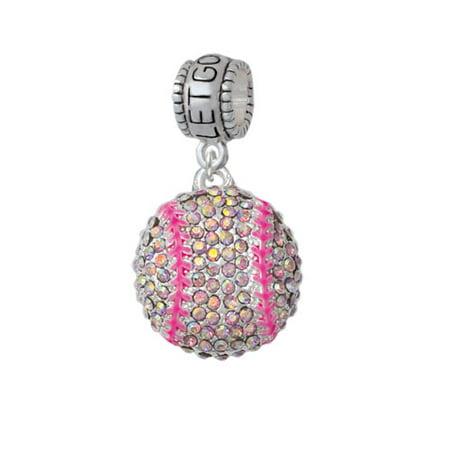 Large Super Sparkle Crystal Pink AB Softball - Let Go Let God Charm Bead - Softball Beads