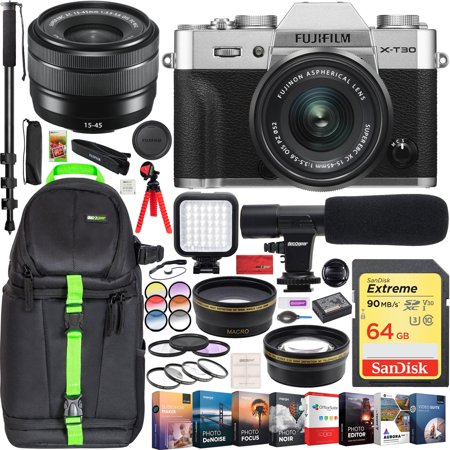 Fujifilm X-T30 Mirrorless 4K Wi-Fi Digital Camera Body w/ XC 15-45mm f/3.5-5.6 Lens Silver Pro Travel Bundle Backpack + Wide Angle & Telephoto Lens + Microphone + LED + 64GB + Filter Kit +
