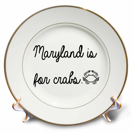 3dRose MARYLAND IS FOR CRABS. - Porcelain Plate, 8-inch