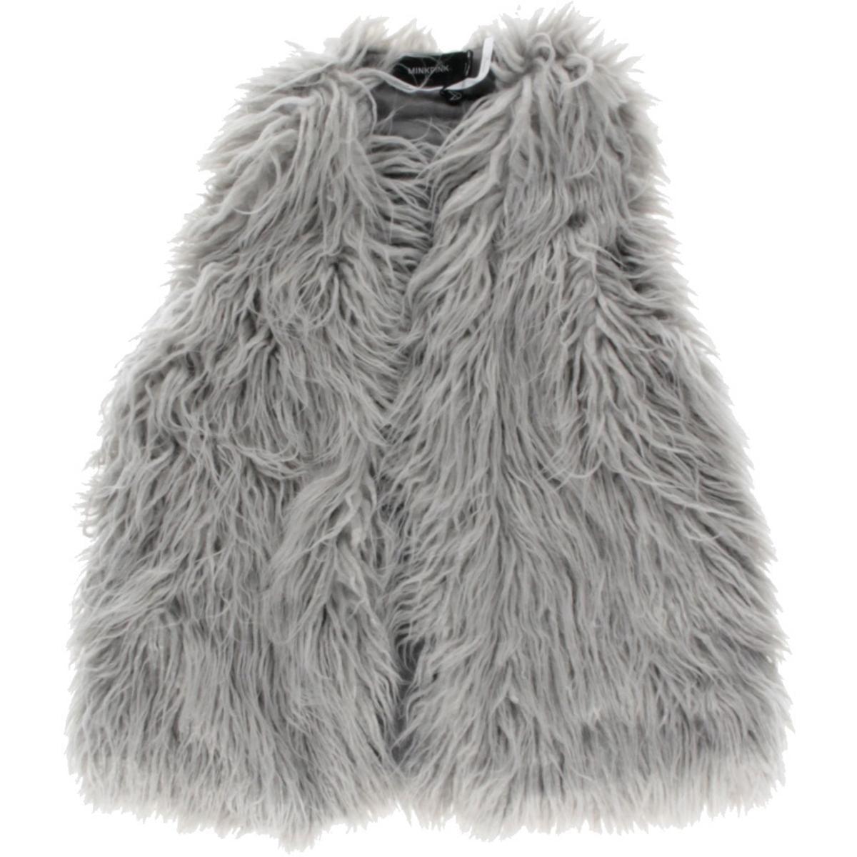 MINKPINK Womens Endless Shaggy Faux Fur Casual Vest