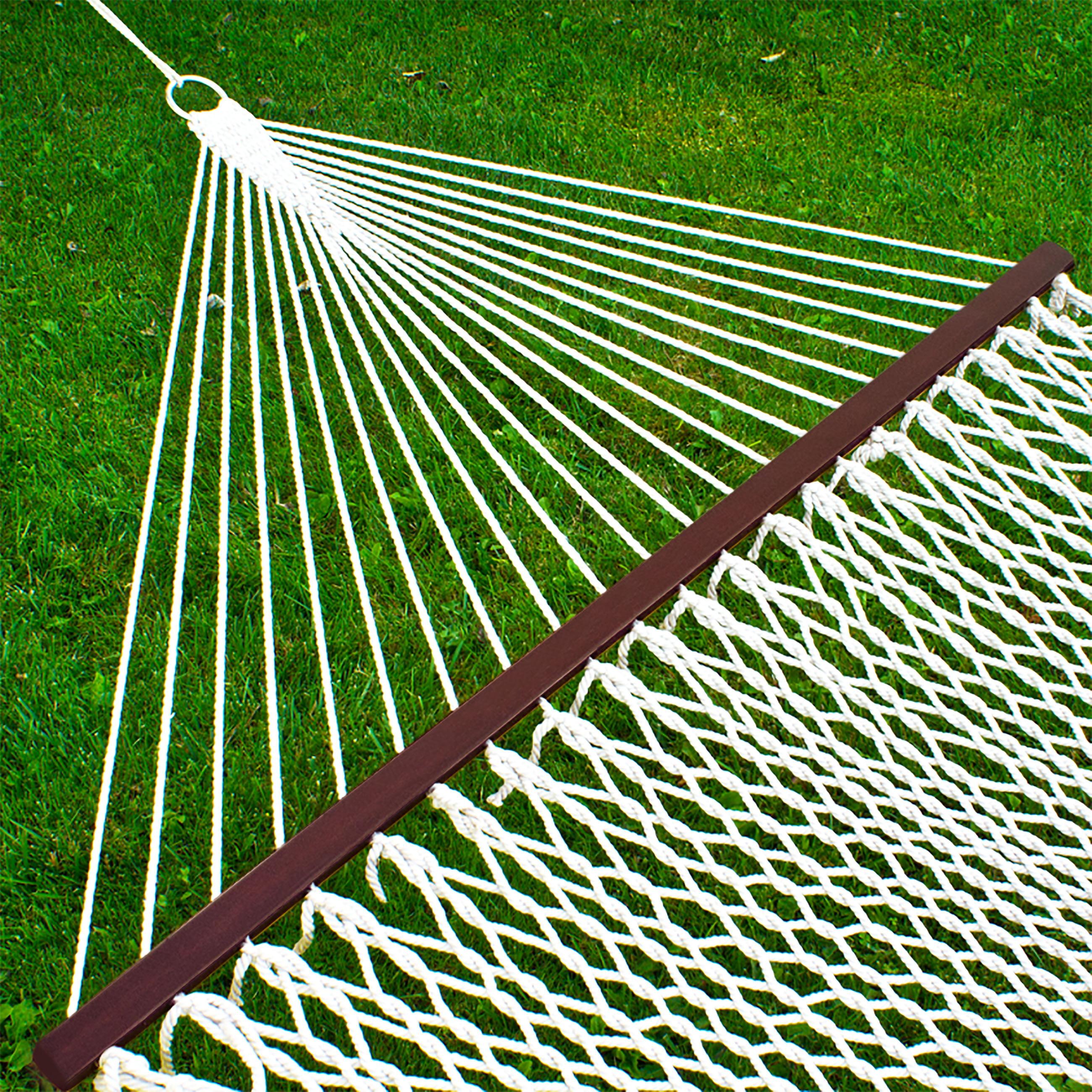 "Hammock 59"" Cotton Double Wide Solid Wood Spreader Outdoor Patio Yard Hammock by"
