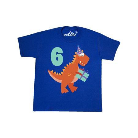 Inktastic 6th Birthday Dinosaur Party Youth T Shirt Sixth 6 Year Old Six Happy