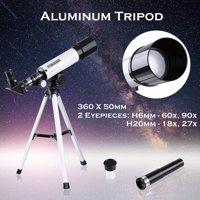 50mm Astronomical Refractor Telescope Refractive Spotting Scope Eyepieces Tripod Kids Beginners