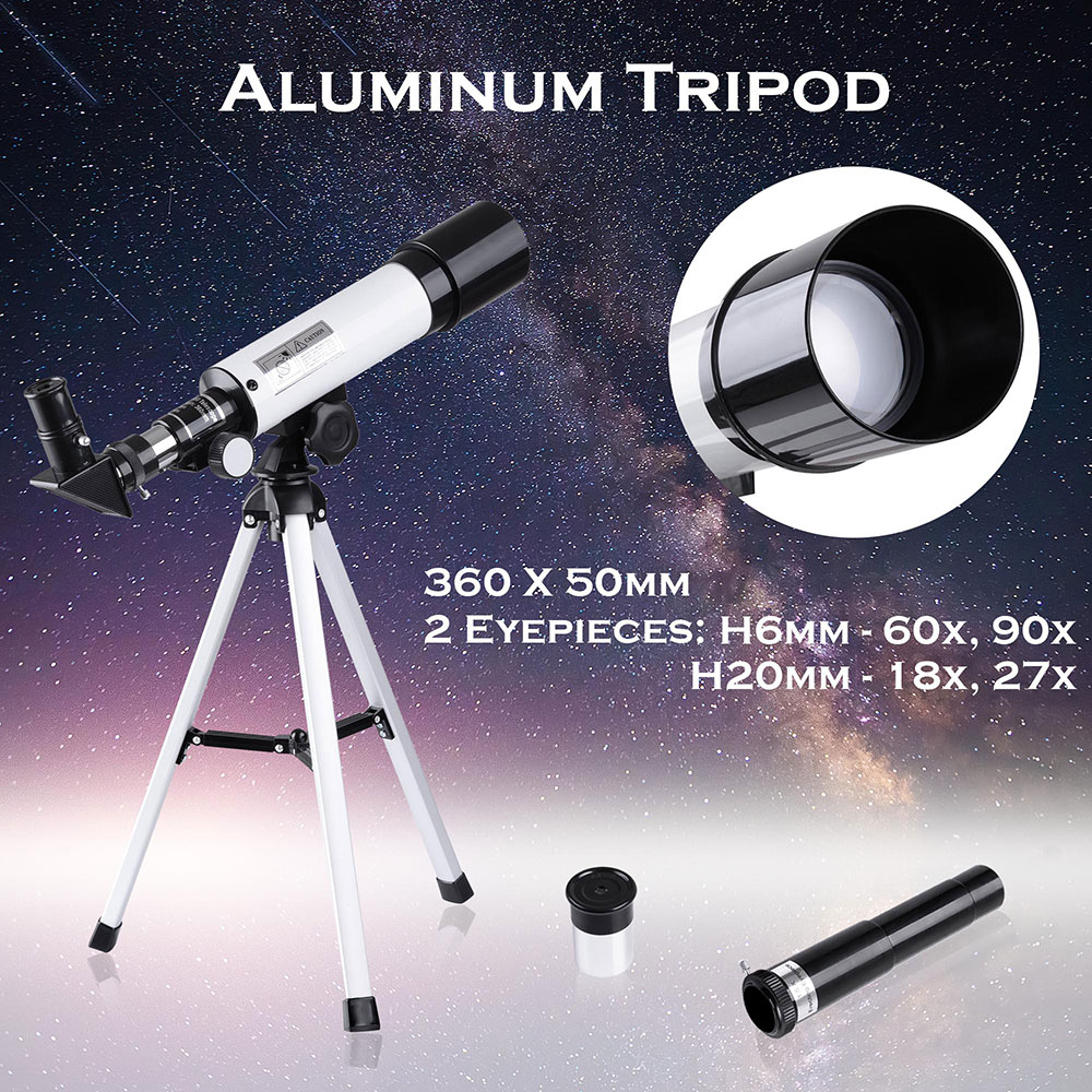 50mm Astronomical Refractor Telescope Refractive Spotting Scope Eyepieces Tripod Kids Beginners